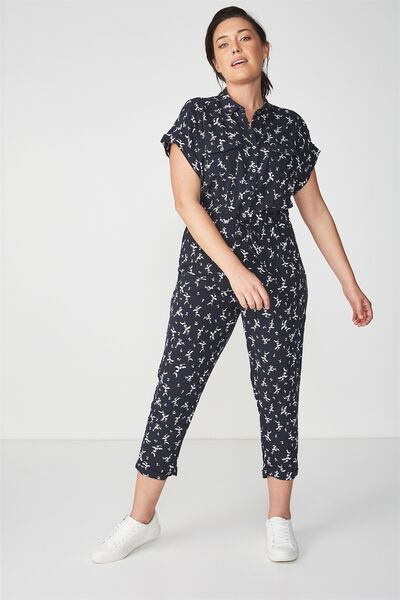 Woven Short Sleeve Boiler Jumpsuit, PATSY FLORAL DISTY MOONLIGHT