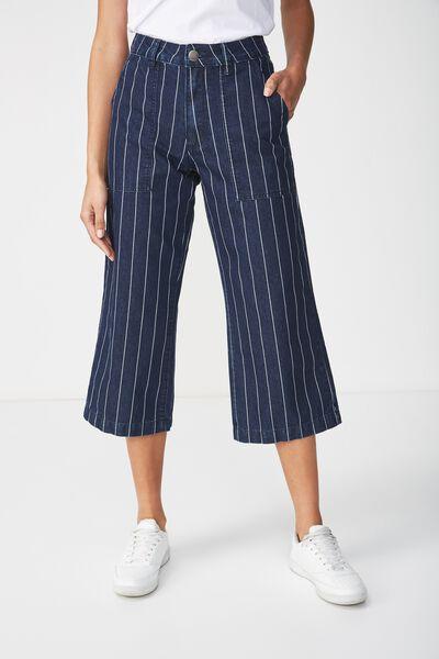 Mid Rise Wide Leg Crop Jean, RAILROAD RINSE