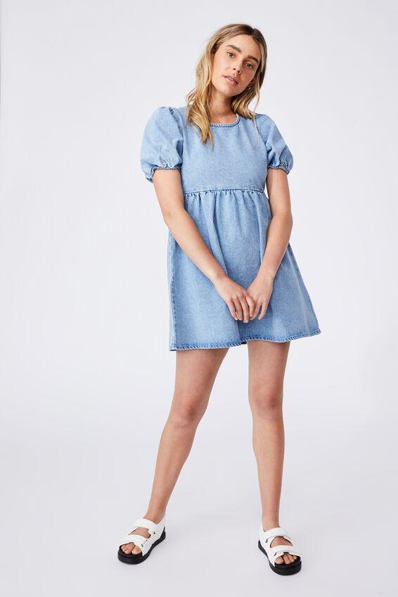 Denim Open Back Babydoll Mini Dress, WAVE WASHED BLUE