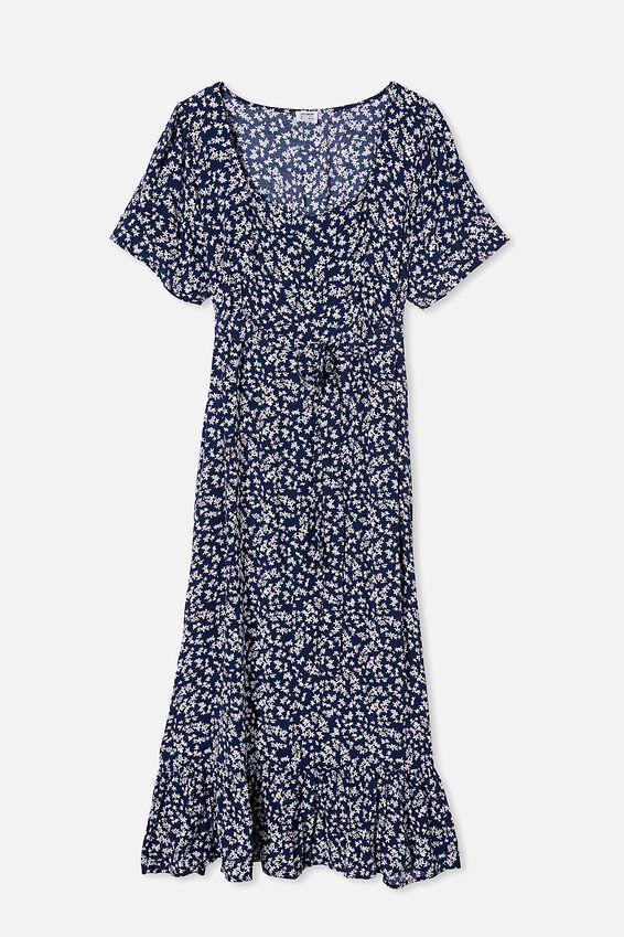 Curve Woven Laura Frill Hem Maxi Dress, CORA DITSY MEDIEVAL BLUE