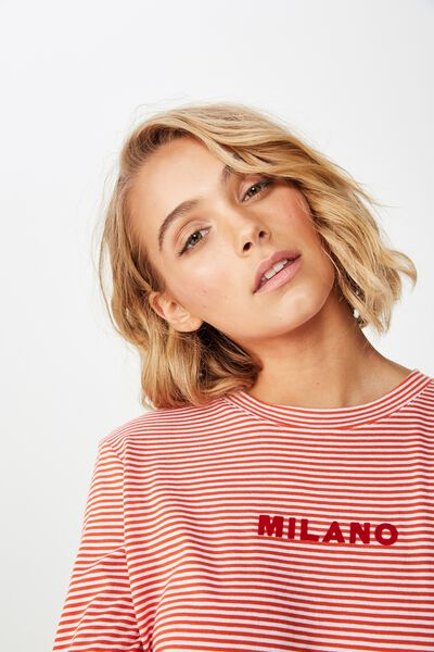Classic Slogan Long Sleeve T Shirt, MILANO WHITE/CHERRY TOMATO