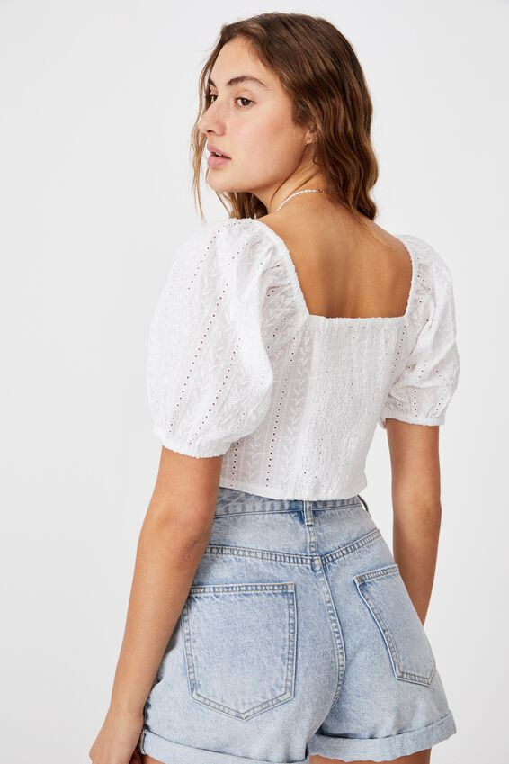 Pip Tie Front Blouse, WHITE