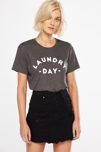 Tbar Fox Graphic T Shirt, LAUNDRY DAY/CHARCOAL MARLE