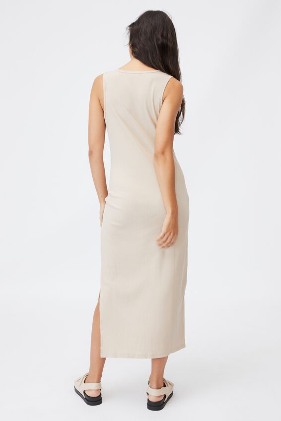 Maternity Rib Henley Maxi Dress, LATTE