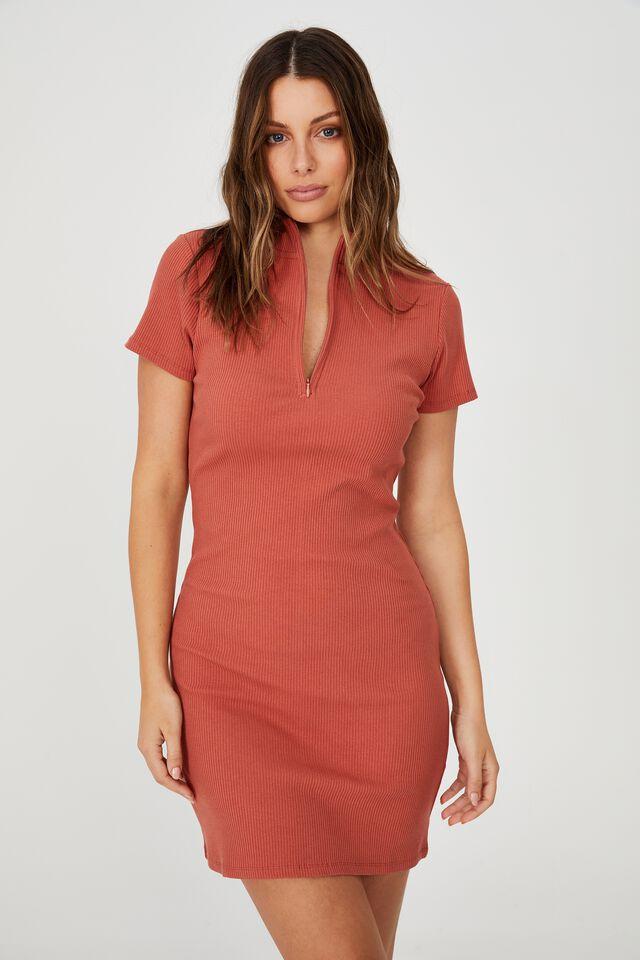Ziggy Zip Neck Short Sleeve Mini Dress, EARTHY RED