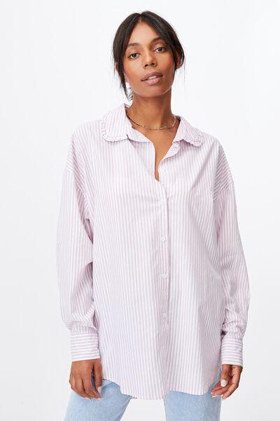 Lily Frill Collar Long Sleeve Shirt, EMILY STRIPE SOFT MAUVE