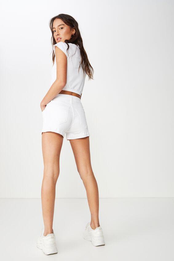 Mid Rise Classic Stretch Denim Short, WHITE