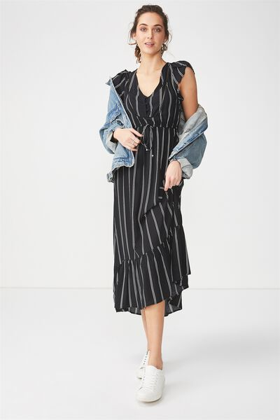 Woven Flora V Neck Maxi Dress, LOLA STRIPE BLACK/WHITE VERTICAL