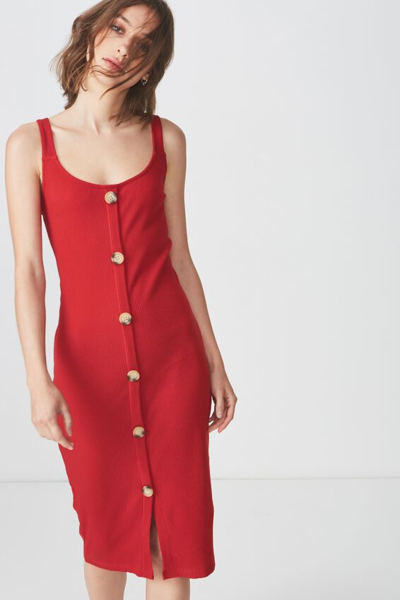 Lola Ribbed Button Through Midi Dress, SCARLET SAGE RIB