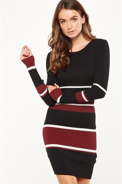 Sally Long Sleeve Midi Dress, BLACK/CERISE MARLE/ CREAM SALLY STRIPE