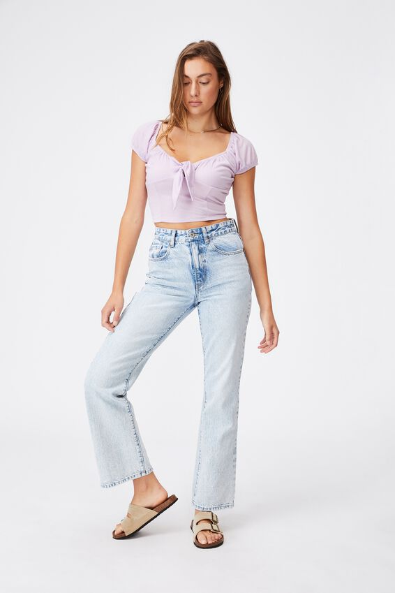 Sally Sweetheart Short Sleeve Top, FROSTY LILAC