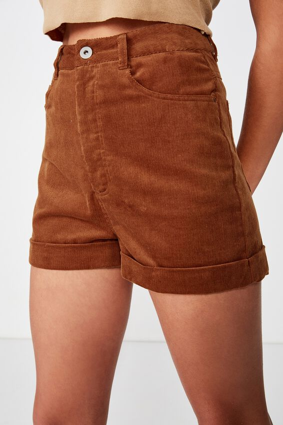High Waist Cord Short, TOBACCO