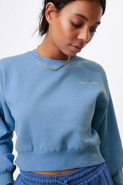 Graphic Classic Cropped Crew, CLASSIC BLUE /SPORT & REC PASTRY