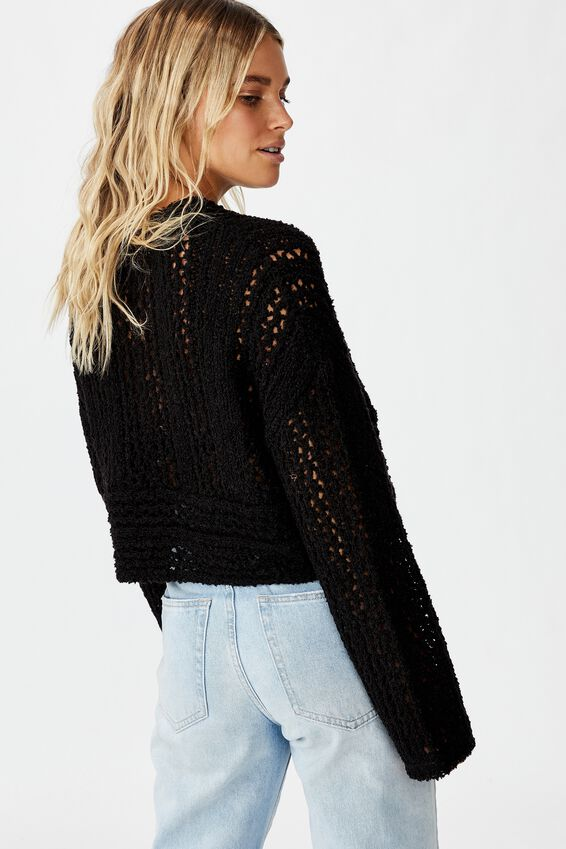 Wide Sleeve Chopped Pullover, BLACK