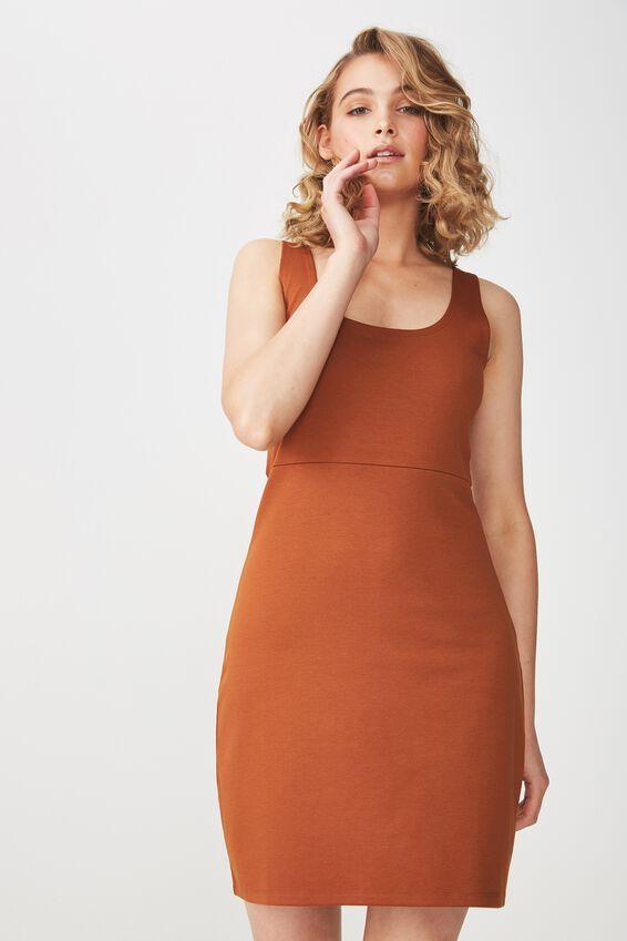 Mac Thick Strap Pinafore Mini Dress, UMBER BROWN