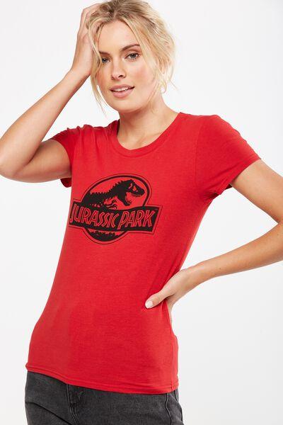 Tbar Hero Graphic T Shirt, LCN JURASSIC PARK LOGO/DUSK RED