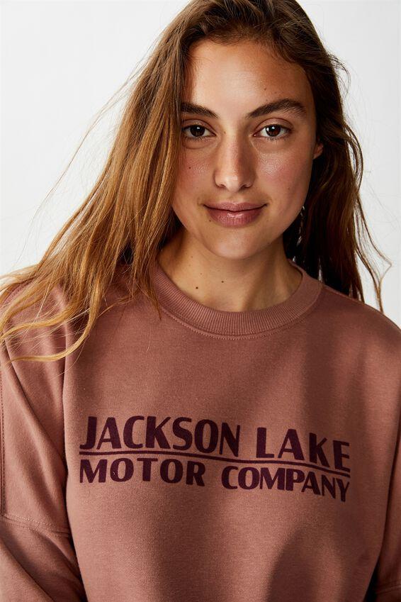 Harper Boxy Crew Graphic Fleece, JACKSON LAKE/BURLWOOD