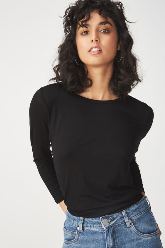 Kathleen Long Sleeve Top, BLACK