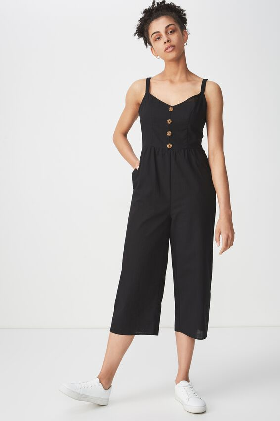 Woven Toni Strappy Jumpsuit, BLACK