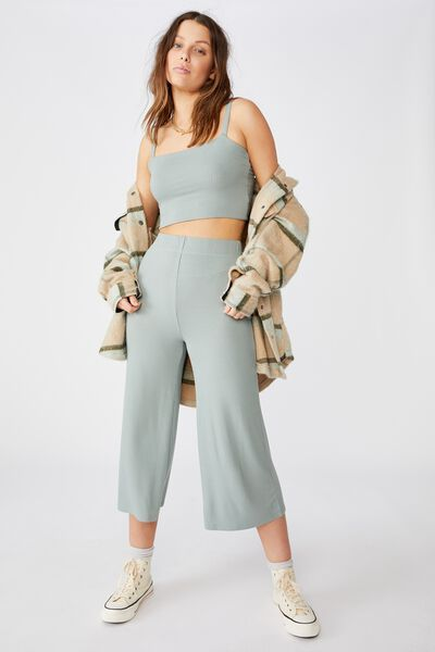 Piper Knit Rib Pant, FALL GREEN