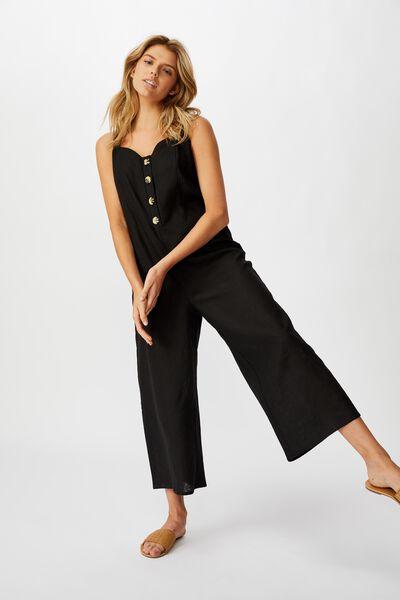Woven Ada Strappy Jumpsuit, BLACK