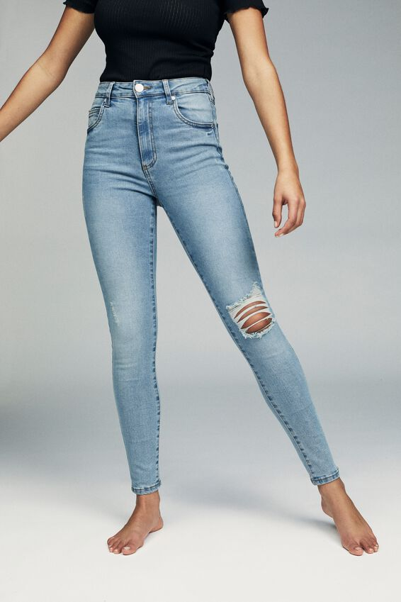 High Rise Skinny Jean, MID BLUE WASH