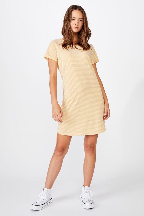 Tina Tshirt Dress 2, MINI MOLLY STRIPE HONEY GOLD/WHITE