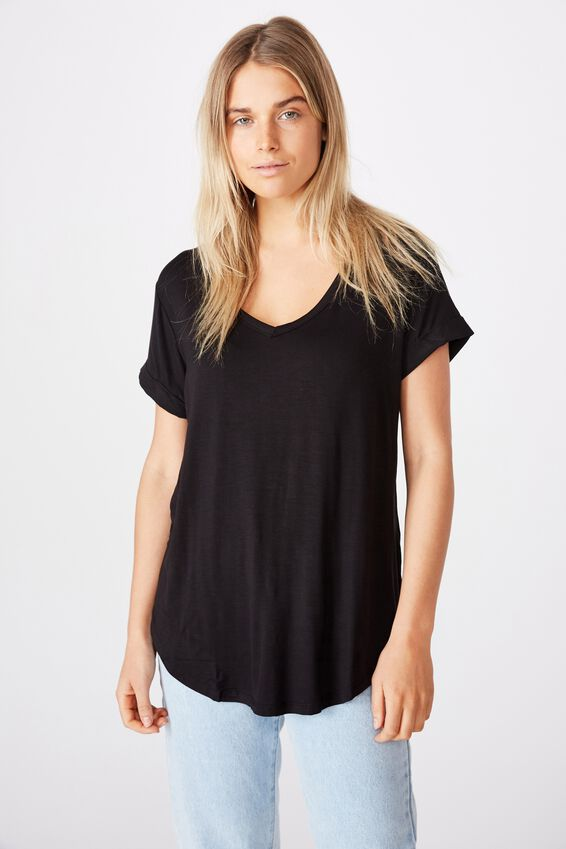 Karly Short Sleeve V Neck Top, BLACK 2