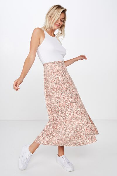 Woven Whitney Midi Skirt, ISSY DITSY CANNOLI CREAM