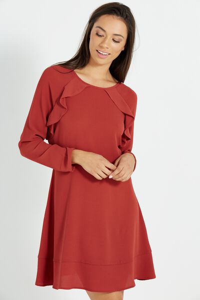 Woven Freddie Frill Dress, ROSEWOOD