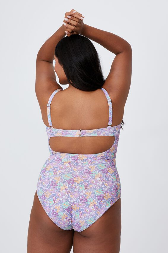 Curve Rouched Front One Piece, VINTAGE FADED FLORAL