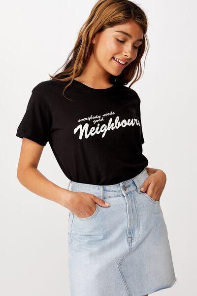 Classic Tv Movie T Shirt, LCN FRE NEIGHBOURS LOGO/BLACK