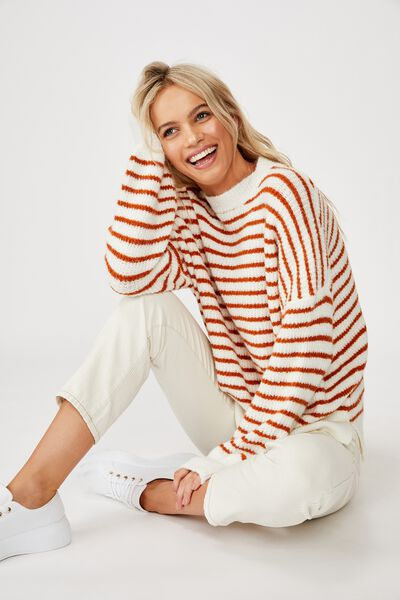 Slouchy Mock Neck Pullover, WHITE/RUST STRIPE