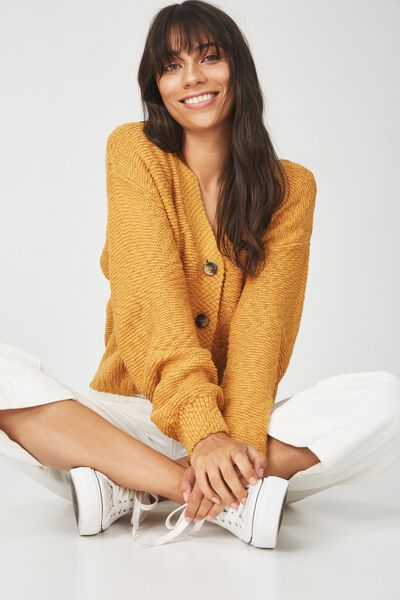 Cropped Button Up Cardi, SPRUCE YELLOW