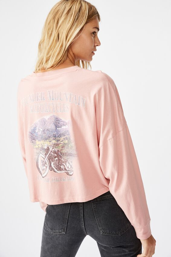 Tbar Brianna Graphic Long Sleeve, THUNDER MOUNTAIN/BRIDAL ROSE