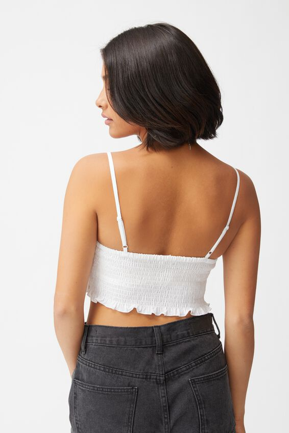 Sunseeker Shirred Rouched Front Cami, WHITE
