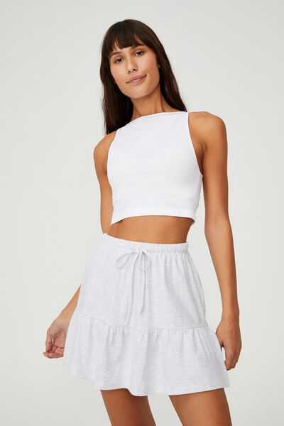 Tori Tiered Mini Jersey Skirt, SILVER MARLE