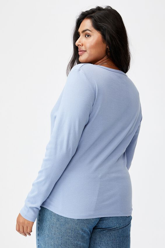 Curve Lincoln Henley Long Sleeve Top, VINTAGE BLUE