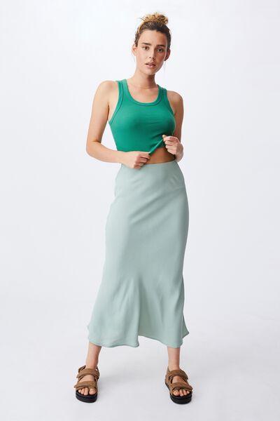 All Day Slip Skirt, LUSH GREEN