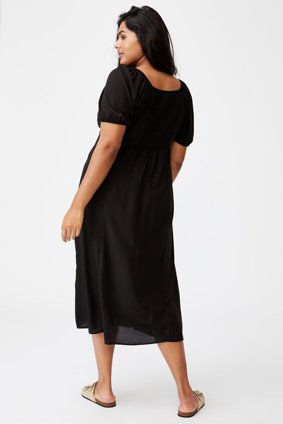 Curve Mary Midi Dress, BLACK
