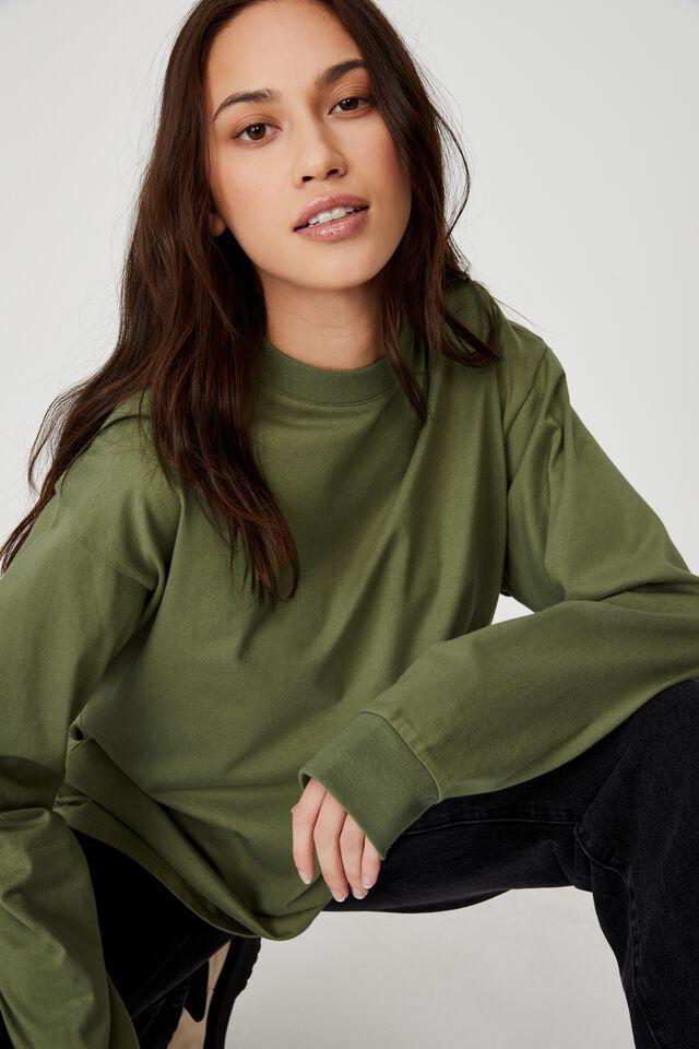 Basic Oversized Long Sleeve Top, SOFT MOSS