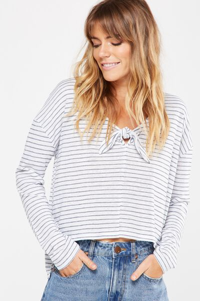Lisa Knot Front Long Sleeve Top, LISA STRIPE WHITE/DEEPEST NAVY