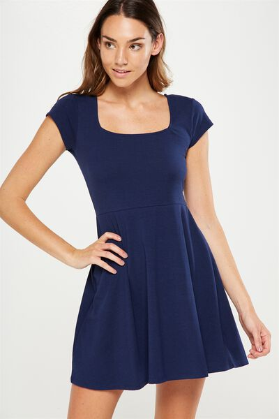 Winona Scoop Neck Fit And Flare Dress, SPACE NAVY