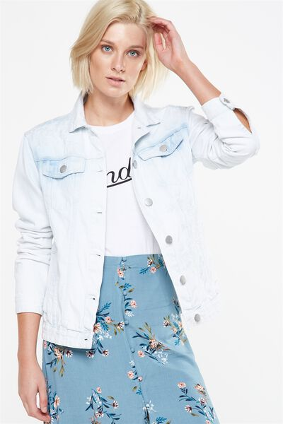 Boyfriend Trucker Embroidered Denim Jacket, LIGHT FLORAL