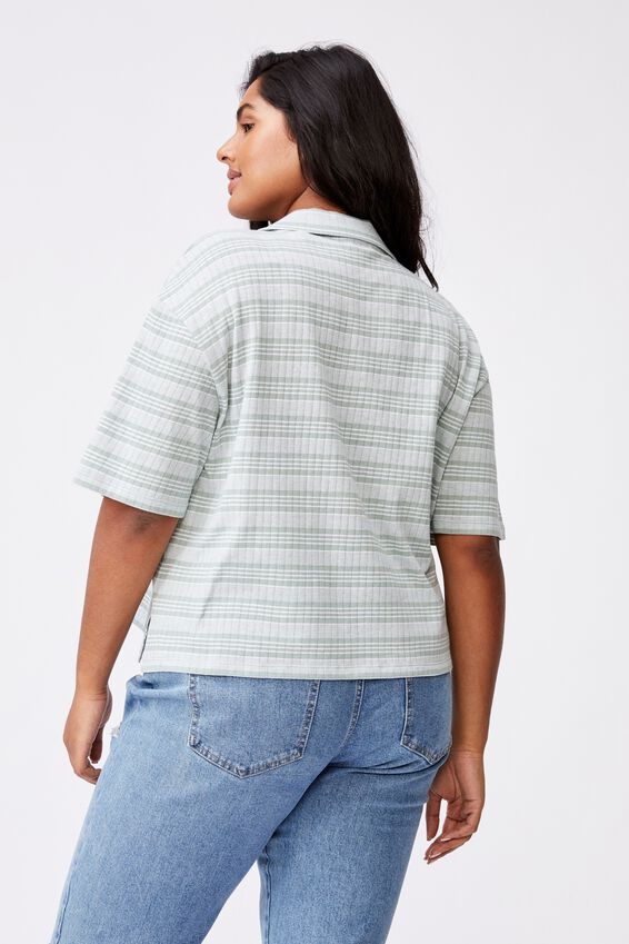 Curve Sunny Short Sleeve Polo Top, BIANCA STRIPE LUSH GREEN