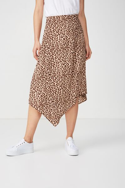 Woven Amy Assymetric Hem Midi Skirt, SARAH LEOPARD TAN