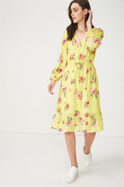 Woven Raquel Winter Maxi Dress, FALLING ROSE YELLOW