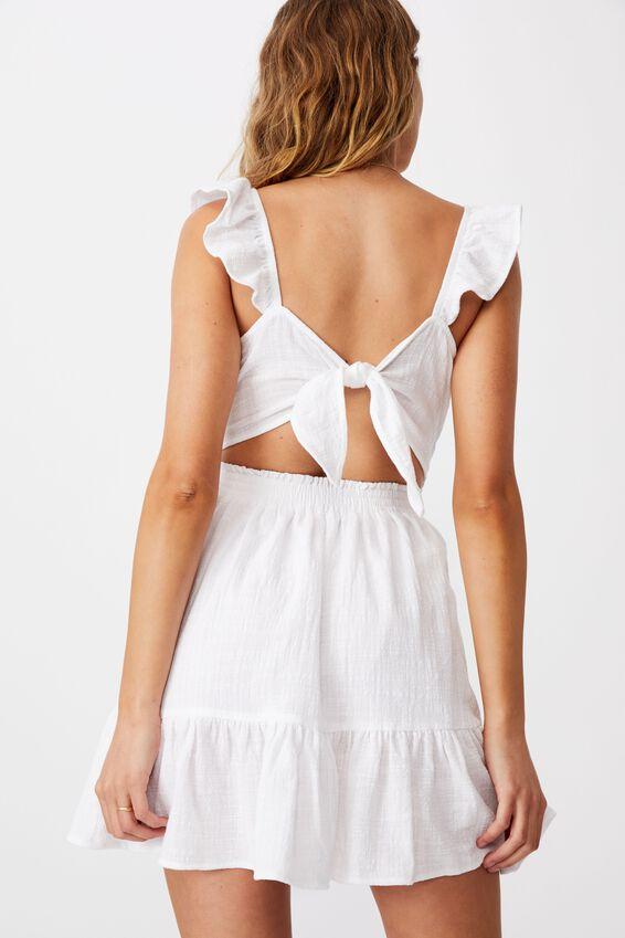 Woven Blossom Strappy Mini Dress, WHITE