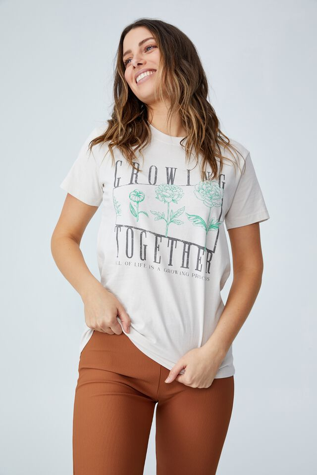 Classic Organic Cotton Graphic T Shirt, GROWING TOGETHER/WHITE SAND