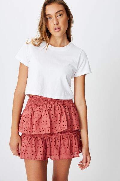 Ellie Broderie Mini Skirt, CANYON ROSE
